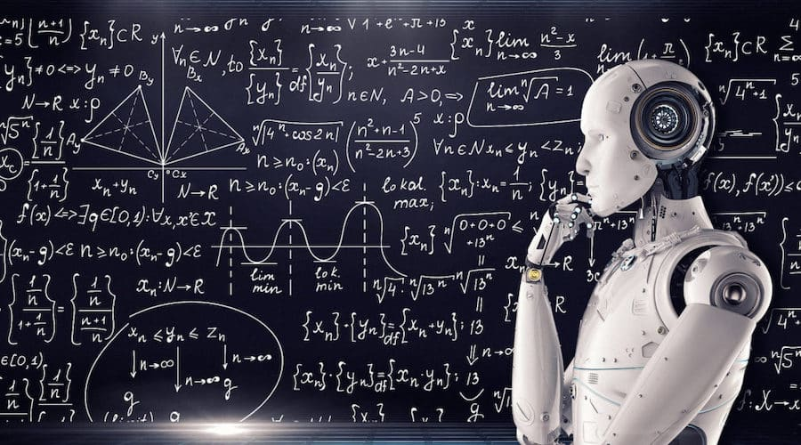 robot devant un tableau de calculs
